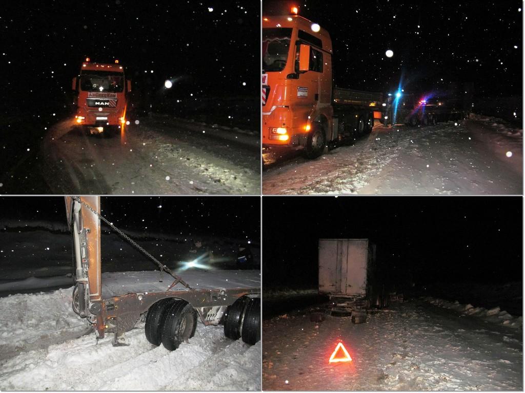 Шофёр КАМАЗа сбит насмерть полуприцепом встречного фургона на автотрассе Тюмень— Ханты-Мансийск